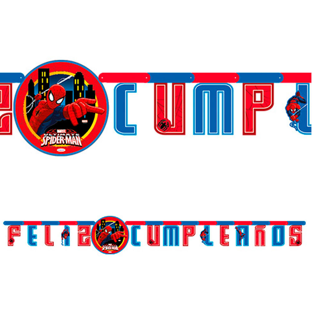 Cartel Letras Feliz Cumpleanos Spiderman X1 Sempertex Monkeymarket